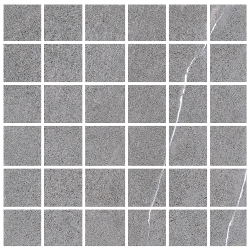 "Lifestone - Medium Grey 2""x2"" Mosaic on 12""x12"" Sheet"
